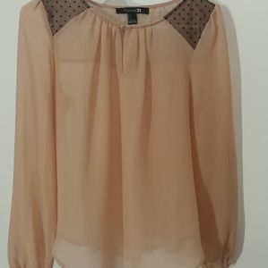 Tops - Sheer light pink and black accent top